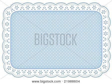 Polka Dot Lace Place Mat, Pastel Blue