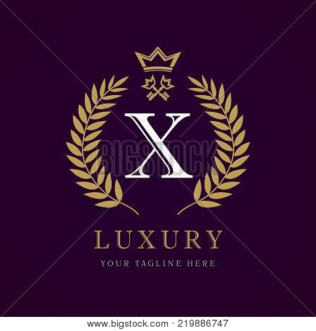 Luxury calligraphic letter X crown and key monogram logo. Laurel elegant beautiful round identity with crown and key. Vector letter emblem X for Royalty, Restaurant, Boutique, Hotel, Heraldic, Jewelry