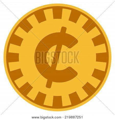 Cent golden casino chip pictogram. Vector style is a gold yellow flat gamble token symbol.
