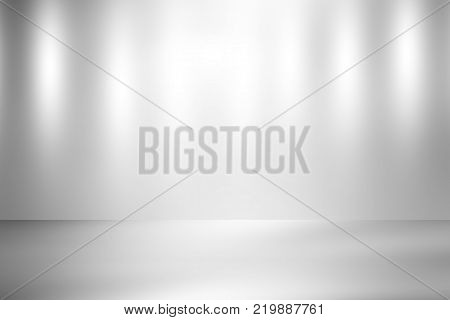 Empty gray stage room studio with spotlight backdrop, soft grey tone, used for background and display your product
