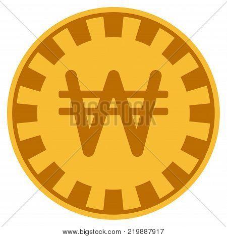 Korean Won golden casino chip pictograph. Vector style is a gold yellow flat gambling token symbol.