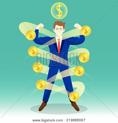 Business Concept As A Full-Energy Muscular Businessman Is Surrounded By Golden Coins With Dollar Sign Above. It Means Wealth Strengthens Self Performance To Manage And Cope With Financial Issues.