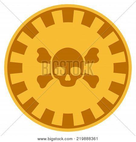 Skull Crossbones golden casino chip pictogram. Vector style is a gold yellow flat gamble token symbol.