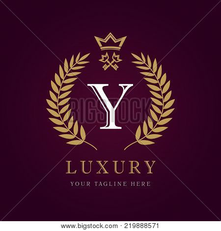 Luxury calligraphic letter Y crown and key monogram logo. Laurel elegant beautiful round identity with crown and key. Vector letter emblem Y for Royalty, Restaurant, Boutique, Hotel, Heraldic, Jewelry