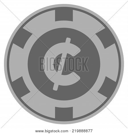 Cent grey casino chip pictograph. Vector style is a gray silver flat gambling token item.