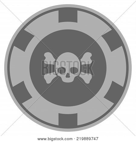 Skull Crossbones grey casino chip pictograph. Vector style is a grey silver flat gambling token item.