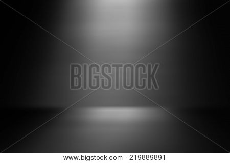 perspective floor backdrop black room studio with gray gradient spotlight backdrop background for display your product or artwork
