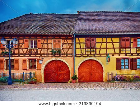 Beautiful Half-timbered House On Main Street Grand-rue Of Charming Eguisheim Village, France