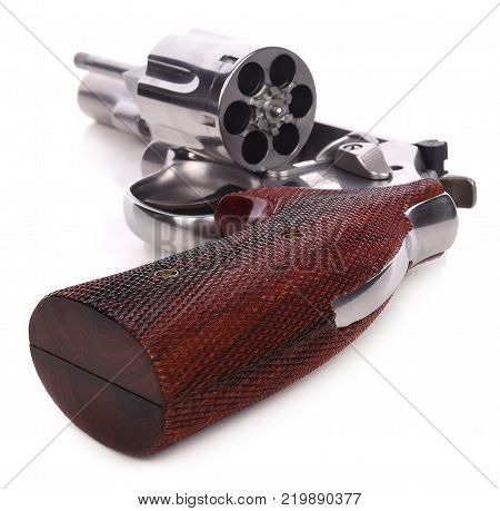 revolver pistol on white background barrel, bullet, firearm, trigger