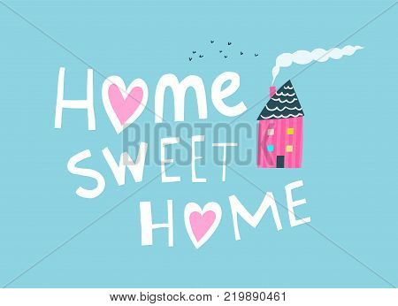 Hand drawn sign home with house chimney and smoke. Vector illustration.