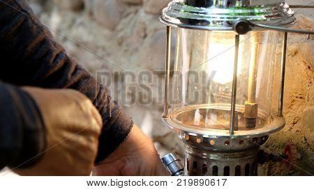 Old Storm lantern Lighting, Hurricane lamp background