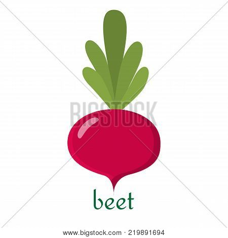 Beet icon in flat style. Isolated object, logo. Vegetable from the farm. Organic food. Vector illustration.