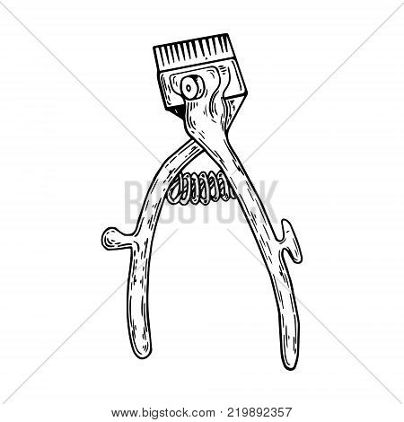 Barber tool mechanical hair clipper engraving vector illustration. Scratch board style imitation. Hand drawn image.