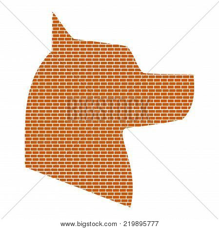 Silhouette of the dog. Brick wall design. Vector illustration EPS 8