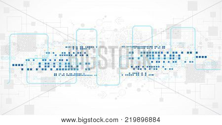 Abstract Technological Background With Various Technological Elements.