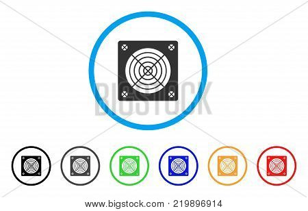 Asic Miner Hardware rounded icon. Style is a flat gray symbol inside light blue circle with additional colored versions. Asic Miner Hardware vector designed for web and software interfaces.