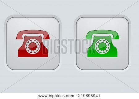 Round buttons with telephone sign. Available and not available. On gray interface background. Vector illustration