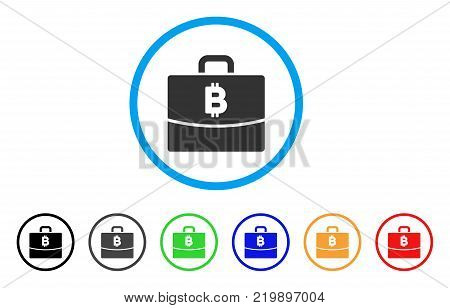 Bitcoin Accounting Case rounded icon. Style is a flat gray symbol inside light blue circle with bonus colored variants. Bitcoin Accounting Case vector designed for web and software interfaces.