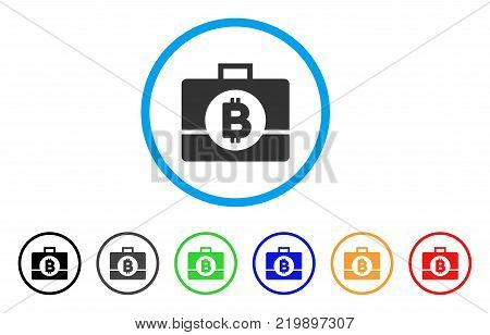 Bitcoin Business Case rounded icon. Style is a flat grey symbol inside light blue circle with bonus colored versions. Bitcoin Business Case vector designed for web and software interfaces.