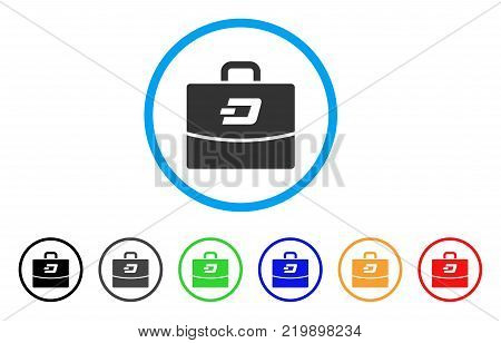 Dash Accounting Case rounded icon. Style is a flat grey symbol inside light blue circle with bonus color versions. Dash Accounting Case vector designed for web and software interfaces.