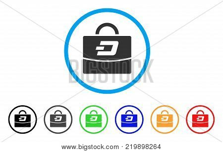 Dash Accounting Case rounded icon. Style is a flat grey symbol inside light blue circle with bonus colored variants. Dash Accounting Case vector designed for web and software interfaces.