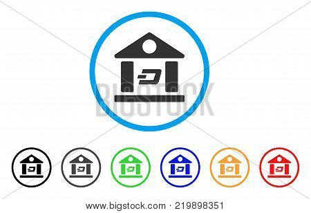Dash Bank Building rounded icon. Style is a flat gray symbol inside light blue circle with bonus color variants. Dash Bank Building vector designed for web and software interfaces.