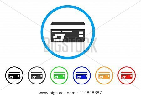 Dash Bank Card rounded icon. Style is a flat grey symbol inside light blue circle with bonus colored versions. Dash Bank Card vector designed for web and software interfaces.