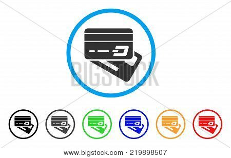 Dash Banking Cards rounded icon. Style is a flat grey symbol inside light blue circle with additional color variants. Dash Banking Cards vector designed for web and software interfaces.