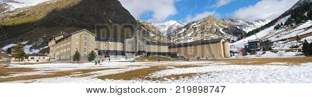 Nuria Valley, Catalan Pyrenees, Spain. Panorama of the hotel at the ski station during winter at the pyrenees.