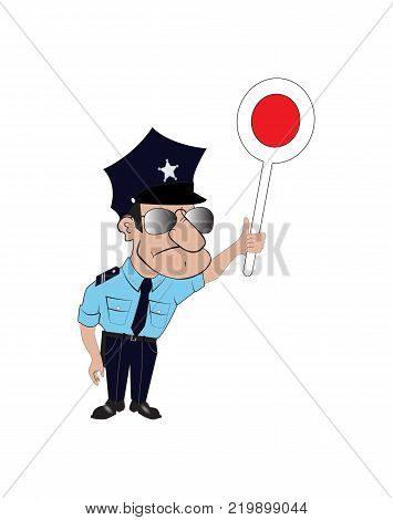Vector image of a cop with glases