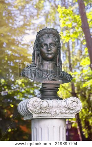Zelenogradsk, Russia - July 22, 2017: The bronze bust of the queen in Queen Louise Square.