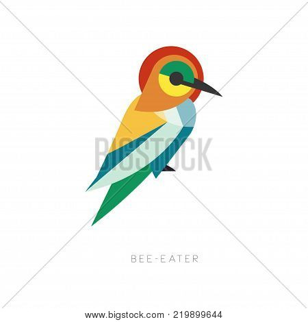 Beautiful silhouette of bee-eater composed from simple geometric shapes. Colorful abstract bird with long beak. Flat vector illustration isolated on white. Ornithological theme for logo, print, label. poster
