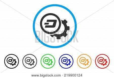 Dash Configuration Gear rounded icon. Style is a flat grey symbol inside light blue circle with additional color variants. Dash Configuration Gear vector designed for web and software interfaces.