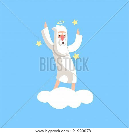 Happy bearded god character dancing on white cloud surrounded with stars. Almighty creator with halo. Cartoon illustration for religious greeting card, poster or print. Flat vector isolated on blue.