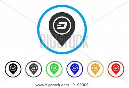 Dash Map Pointer rounded icon. Style is a flat gray symbol inside light blue circle with bonus colored variants. Dash Map Pointer vector designed for web and software interfaces.