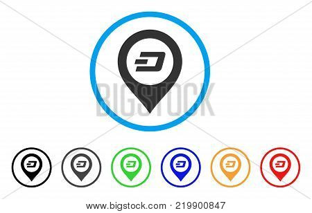 Dash Map Pointer rounded icon. Style is a flat gray symbol inside light blue circle with bonus colored versions. Dash Map Pointer vector designed for web and software interfaces.