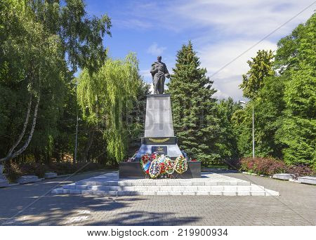 Zelenogradsk, Russia - July 22, 2017: Sculpture of a warrior on a high pedestal. Hero of the Soviet Union Guards Senior Lieutenant Tkachenko IF Memorial complex on the mass grave of Soviet soldiers.