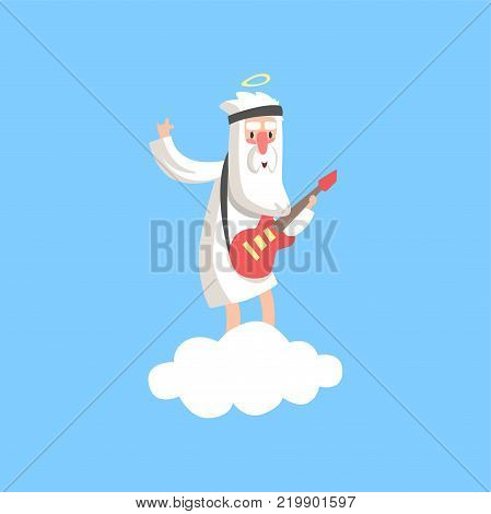 Happy god character standing on fluffy white cloud and playing guitar. Creator s artistic hobby. Christian religious theme cartoon illustration for children. Flat vector isolated on blue background.