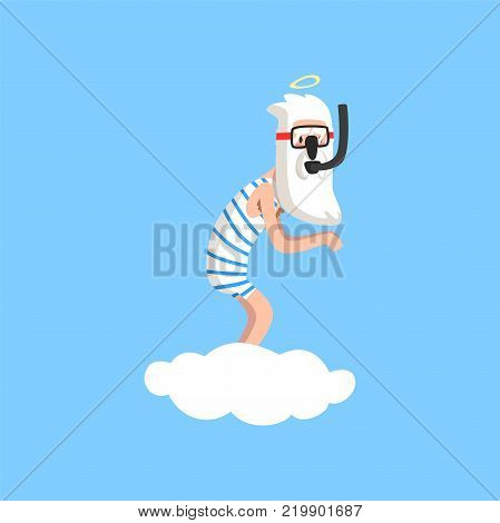 God character in action on white cloud. Creator s hobby. Almighty bearded man wearing striped swimsuit, mask and snorkel. Cartoon illustration for religious card or print. Flat vector isolated on blue