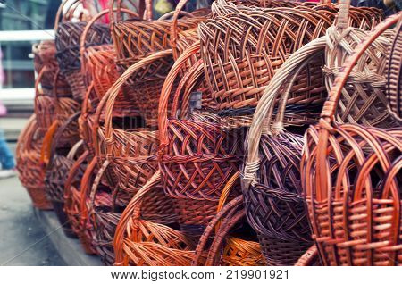Wicker is made from bamboo and rattan. Rattan baskets sold on the local market.
