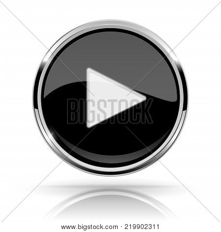 Black round media button. PLAY button. Shiny icon with chrome frame and with reflection. Vector 3d illustration on white background