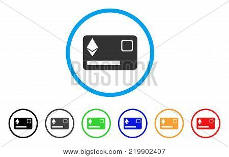Ethereum Credit Card rounded icon. Style is a flat grey symbol inside light blue circle with additional color variants. Ethereum Credit Card vector designed for web and software interfaces.