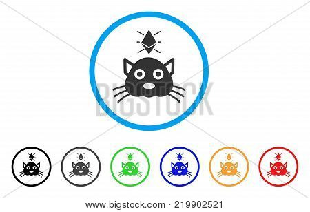 Ethereum Crypto Kitty rounded icon. Style is a flat grey symbol inside light blue circle with bonus colored variants. Ethereum Crypto Kitty vector designed for web and software interfaces.