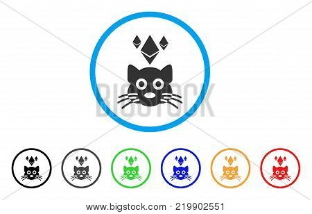 Ethereum Crypto Kitty rounded icon. Style is a flat gray symbol inside light blue circle with additional colored versions. Ethereum Crypto Kitty vector designed for web and software interfaces.