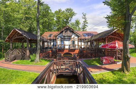 Zelenogradsk, Russia - July 22, 2017: Inn Mill (Mel'nitsa). Panoramic view in a sunny summer day.