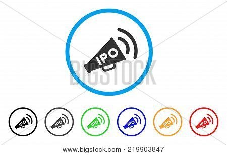 Ipo News Megaphone rounded icon. Style is a flat grey symbol inside light blue circle with bonus color versions. Ipo News Megaphone vector designed for web and software interfaces.