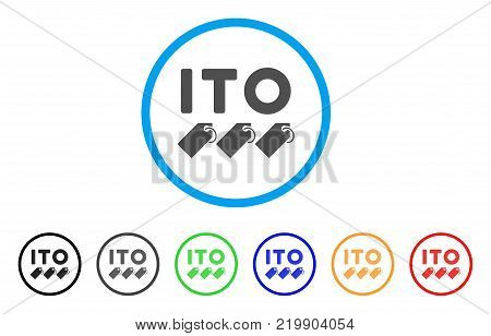 Ito Tokens rounded icon. Style is a flat grey symbol inside light blue circle with additional color versions. Ito Tokens vector designed for web and software interfaces.