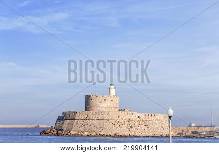 Fort of St. Nicholas Rhodes at Rhodes city on Greek island