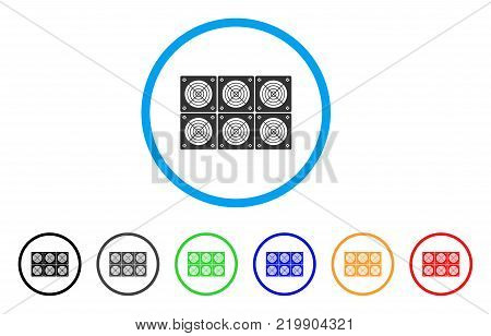 Mining Asic Farm rounded icon. Style is a flat grey symbol inside light blue circle with bonus color versions. Mining Asic Farm vector designed for web and software interfaces.