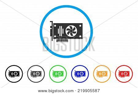 Videocard rounded icon. Style is a flat grey symbol inside light blue circle with additional color versions. Videocard vector designed for web and software interfaces.